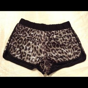Leopard Animal Print Sequin Shorts